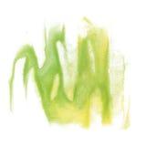 油漆飞溅颜色墨水水彩孤立石灰冲程绿色黄色泼溅物水彩aquarel刷子 免版税库存照片