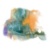 油漆飞溅颜色墨水水彩孤立蓝色橙色冲程泼溅物水彩aquarel刷子 库存照片