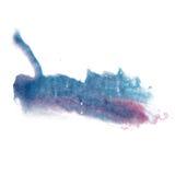 油漆飞溅颜色墨水水彩蓝色桃红色隔绝了冲程泼溅物水彩aquarel刷子 图库摄影