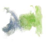 油漆飞溅颜色墨水水彩蓝绿色隔绝了冲程泼溅物水彩aquarel刷子 库存图片