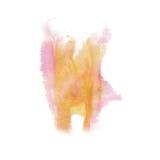 油漆飞溅颜色墨水橙色桃红色水彩被隔绝的冲程泼溅物水彩aquarel刷子 免版税图库摄影