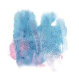 油漆飞溅颜色墨水蓝色桃红色水彩被隔绝的冲程泼溅物水彩aquarel刷子 免版税库存图片
