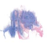 油漆飞溅颜色墨水蓝色桃红色水彩被隔绝的冲程泼溅物水彩aquarel刷子 免版税库存照片