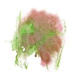 油漆飞溅颜色桃红色绿色墨水蓝色红色水彩被隔绝的冲程泼溅物水彩aquarel刷子 免版税库存图片