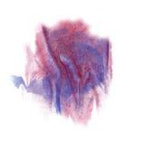 油漆飞溅颜色蓝色桃红色墨水蓝色红色水彩被隔绝的冲程泼溅物水彩aquarel刷子 免版税库存照片