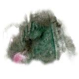 油漆飞溅黑色桃红色颜色墨水水彩被隔绝的冲程泼溅物水彩aquarel刷子 免版税图库摄影