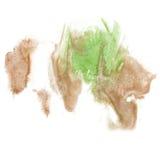 油漆飞溅绿色褐色颜色墨水水彩被隔绝的冲程泼溅物水彩aquarel刷子 库存图片