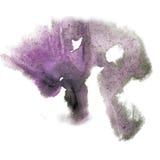 油漆飞溅紫色颜色墨水水彩被隔绝的冲程泼溅物水彩aquarel刷子 库存照片