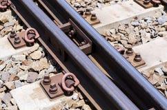 柴油火车平台的,特写镜头射击铁路系统 库存图片