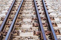 柴油火车平台的,特写镜头射击铁路系统 免版税库存照片