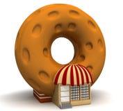 油炸圈饼出售 免版税图库摄影
