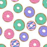 油炸圈饼样式 导航与五颜六色的油炸圈饼的例证无缝的样式与釉并且洒在白色背景 库存图片
