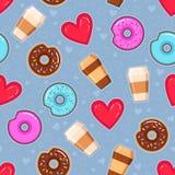 油炸圈饼的传染媒介样式与桃红色和巧克力釉、咖啡和心脏的 免版税图库摄影