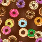 油炸圈饼的无缝的样式 库存例证