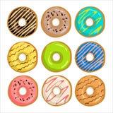 油炸圈饼的汇集与釉的 向量例证