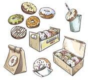 油炸圈饼的选择 外带包装 快餐 免版税库存照片