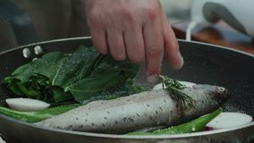 油煎在一个平底锅的奥赫里德湖棕色troutÂ用红萝卜, 股票录像