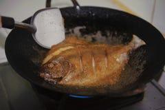 油煎在平底锅的鱼 库存照片