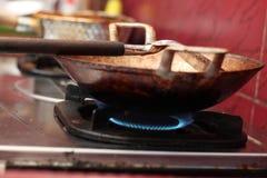油煎在煎锅的豆腐,版本14 图库摄影