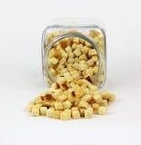 油煎方型小面包片正面图 免版税库存图片