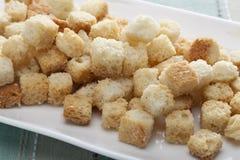 油煎方型小面包片 免版税库存照片