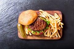 油煎汉堡包蔬菜 免版税库存照片