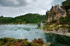 油煎湖平底锅rotorua谷火山的waimangu 免版税库存照片