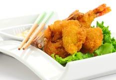 油煎的东方虾 库存照片