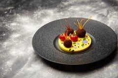 油煎的丸子用在的蕃茄在一个黑色的盘子的土豆 图库摄影