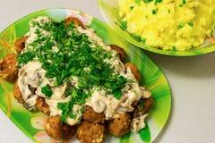 油煎的丸子用沙拉酱肉小汤和土豆泥 库存照片
