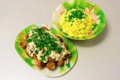 油煎的丸子用沙拉酱肉小汤和土豆泥 免版税库存图片