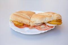 油煎的乌贼西班牙人卷三明治 库存图片