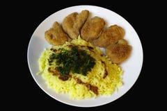 油煎的切片大豆和米咖喱视图 库存照片