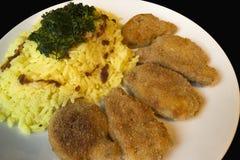 油煎的切片大豆和米咖喱细节 库存照片
