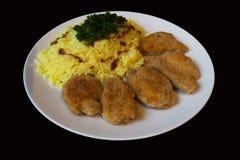 油煎的切片大豆和米咖喱 图库摄影