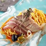 油煎的切片白色鱼 免版税图库摄影