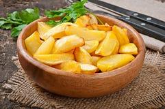 油煎的土豆楔子 库存照片