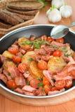 油煎的土豆用肉和蔬菜 免版税库存照片