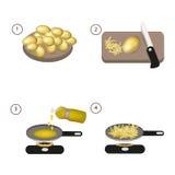 油煎的土豆逐步的食谱  图库摄影