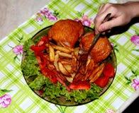 油煎的土豆 免版税库存照片