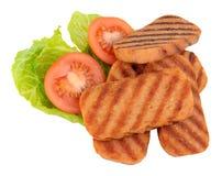 油煎的垃圾短信猪肉午餐肉和沙拉 库存照片