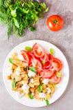 油煎的夏南瓜用希腊白软干酪、蕃茄、草本和葱 库存图片