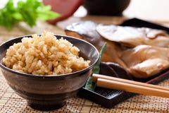 油煎的大蒜米 免版税库存图片