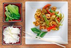 油煎的大虾搅动泰国 库存照片