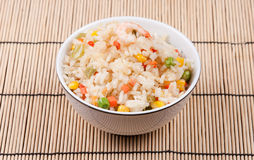 油煎的大虾米蔬菜 免版税库存照片