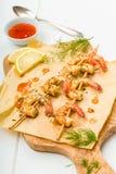 油煎的大虾 免版税库存图片