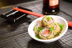 油煎的寿司双打 免版税库存图片