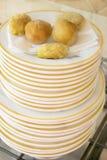 油煎的开胃菜品种在堆的盘 免版税库存图片