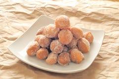 油煎的意大利狂欢节甜点 免版税库存照片