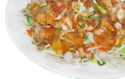 油煎的新鲜的牡蛎 库存图片